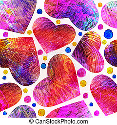 Seamless pattern with hearts.  Vector, EPS 10