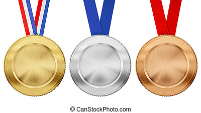 gold, silver, bronze medal set with different ribbons...