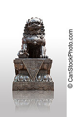Chinese Imperial Lion Statue with shadows