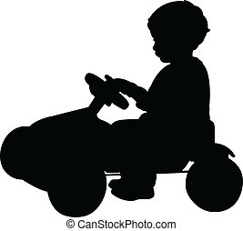 baby boy on bicycle silhouette vect