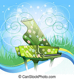 Nature symphony - Illustration with grand piano covered by...