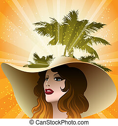The girl in a beach hat - Illustration with girl in a beach...