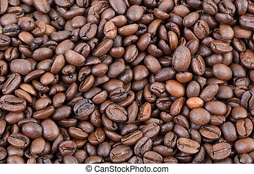 Agriculture, coffee - Close up of roasted coffee beans