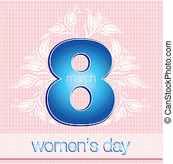 March 8 Womens Day card with blue on white background