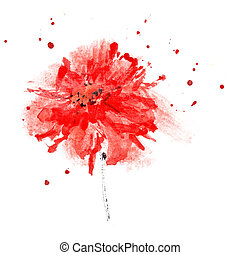 Watercolor red flower - Red flower with space for your own...
