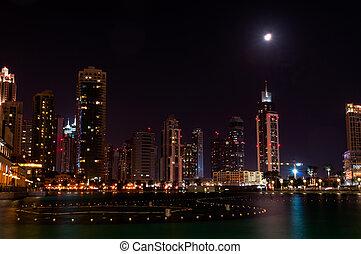 Dubai Dowtown at ngiht, United Arab Emirates - Dubai Dowtown...