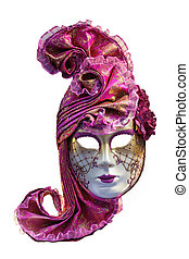 Carneval mask from Venice - Right Venetian mask on white...