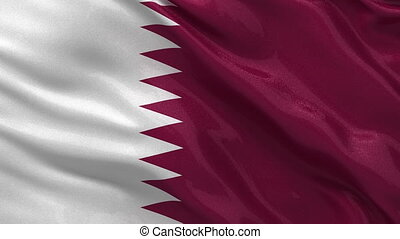 Flag of Qatar seamless loop - Flag of Qatar gently waving in...