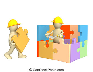 3d puppets building the house