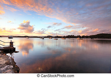 Sunset yachts and reflections Bensville Australia