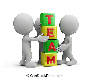 Team - Work together as a team 3d image White background