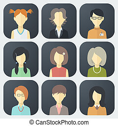 Female Faces Icons Set - Colorful Female Faces App Icons Set...