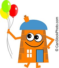 party house - Mr house holding a bunch of party balloons.