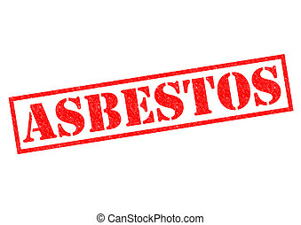 ASBESTOS red Rubber Stamp over a white background