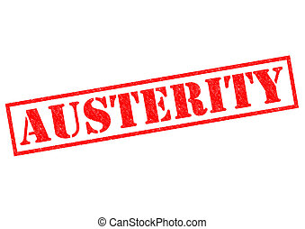 AUSTERITY red Rubber Stamp over a white background