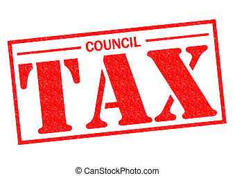COUNCIL TAX red Rubber Stamp over a white background.