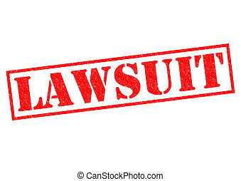 LAWSUIT red rubber Stamp over a white background.