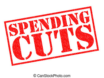 SPENDING CUTS red Rubber Stamp over a white background