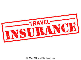 TRAVEL INSURANCE red Rubber Stamp over a white background