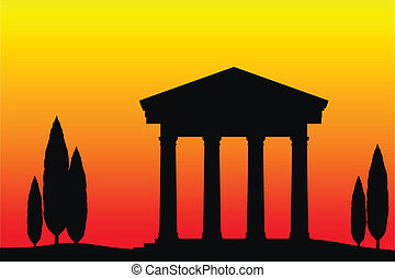 Ancient temple at the sunset background.