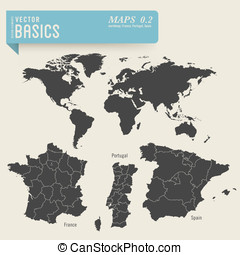 worldmap - vector basics: worldmap and detailed maps of...