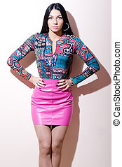 pretty young woman wearing bright leather dresse - beautiful...