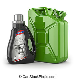 Motor oil canister and jerrycan of petrol or gas 3d