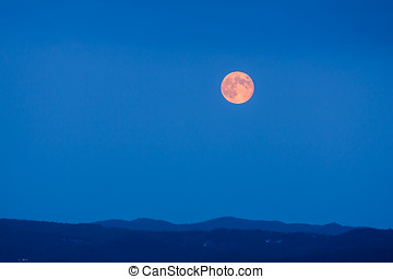 Full Moon Rising at Blue Hour