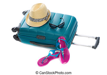 Blue plastic bag, straw hat, sunglasses and beach shales