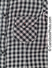 Pocket gray and black plaid shirt close-up