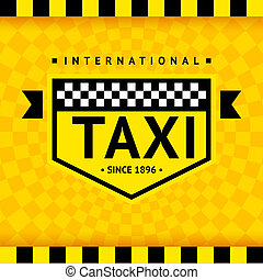 Taxi symbol with checkered background - 08, vector...