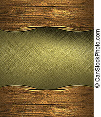 Golden plate with wooden edges. Design template