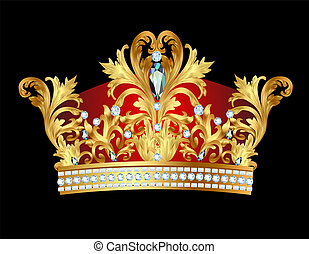 of royal gold crown with jewels - illustration of royal gold...