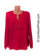red blouse on a mannequin - Stylish women's red blouse on a...