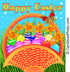 postcard with Easter eggs in the basket on the meadow