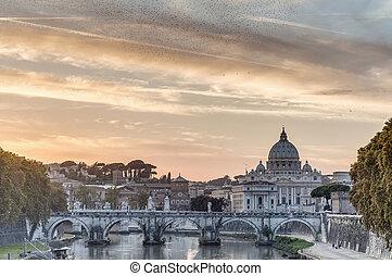 Ponte Sant'Angelo (Bridge of Hadrian) in Rome, Italy, -...