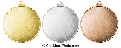 Gold, silver and bronze blank medals set isolated with...