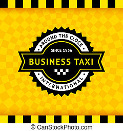 Taxi symbol with checkered background - 10, vector...