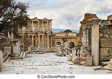 Celsus library in Ephesus - Celsus library in ancient town...