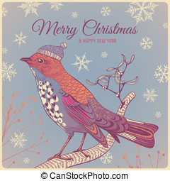 holiday greeting card with winter bird and snowflakes