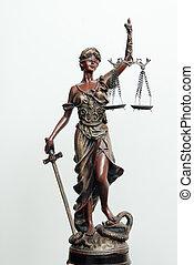 themis, femida, o, Justicia, diosa, Escultura, blanco