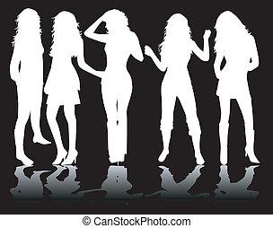 White silhouettes