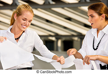 business fight - bright picture of two angry businesswomen...
