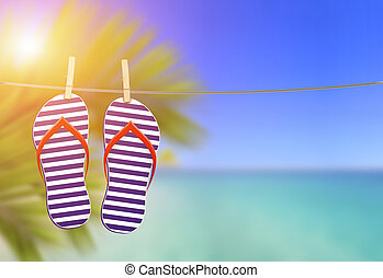 flip flops on the clothesline with the beach landscape -...