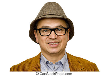 Man in Hat and Glasses Smiling
