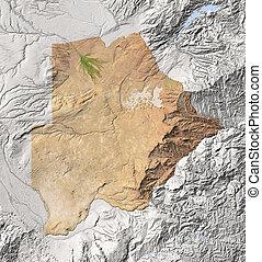 Botswana, shaded relief map - Botswana. Shaded relief map....