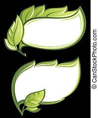 Vector green leaf frames