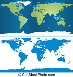 Earth Mercator Map - Illustration of Earth map in...