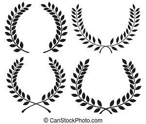 laurel wreaths - Black silhouettes of laurel wreaths, vector...