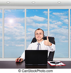 customer support operator with headset and smiling